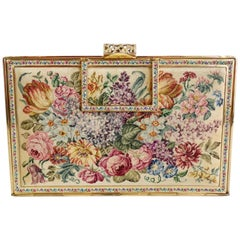 Vienna Handwork Mid-20th Century Floral Petit Point Bag