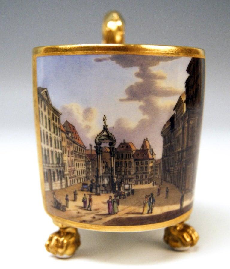 Antique Vienna cup with saucer abundantly painted: Viennese Veduta (Hoher Markt)  Vienna/ Old Imperial Austrian porcelain manufactory (Alt Wien / Kaiserliche Porzellan Manufaktur), dated 1815  Hallmarked: -- Viennese blue beehive mark