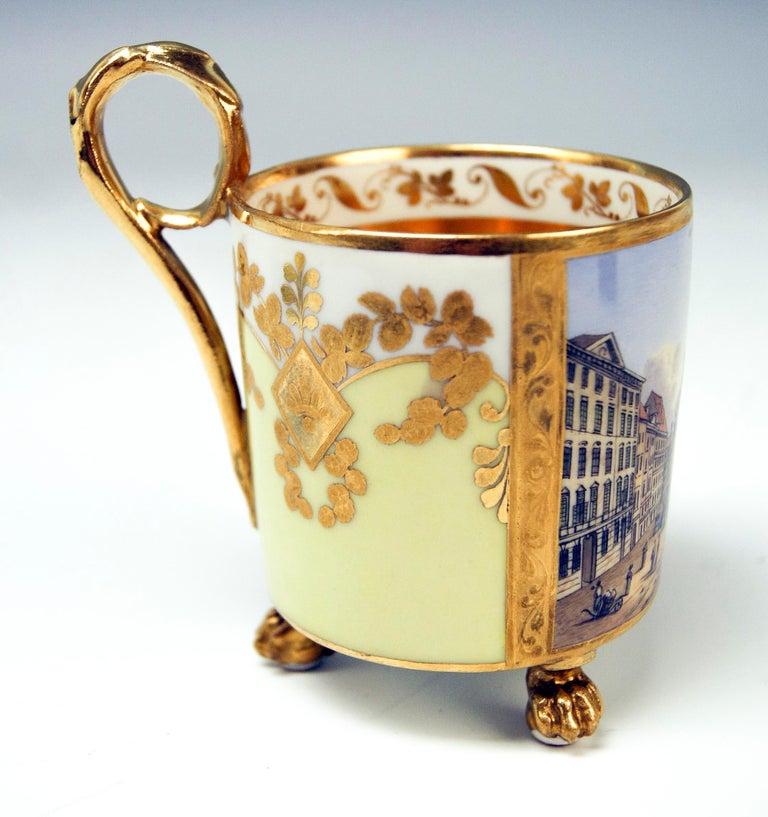 Biedermeier Vienna Imperial Porcelain Cup Saucer Gold Viennese Veduta Hoher Markt, 1815 For Sale