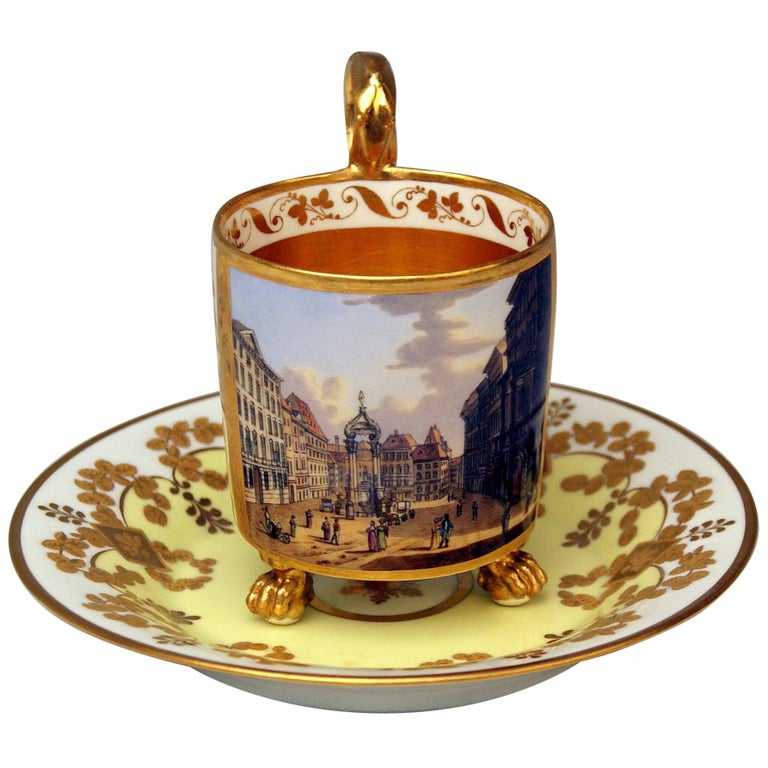 Vienna Imperial Porcelain Cup Saucer Gold Viennese Veduta Hoher Markt, 1815 For Sale