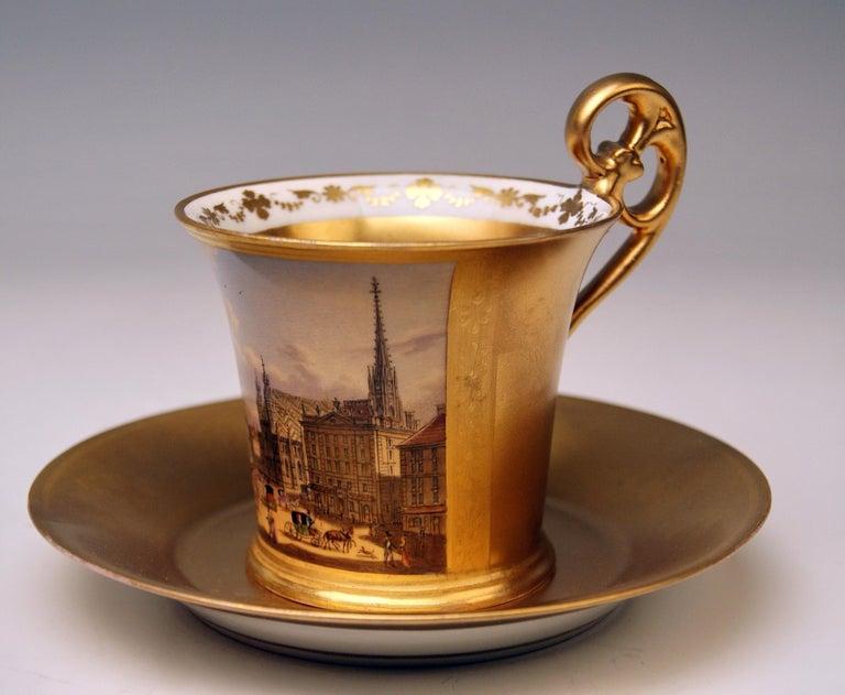 Antique Vienna cup with saucer abundantly painted: Viennese Veduta (stock-im-eisen place)  Vienna / Old Imperial Austrian Porcelain Manufactory (= ALT WIEN / KAISERLICHE PORZELLAN MANUFAKTUR), dated 1822  Hallmarked: -- Viennese Blue Beehive
