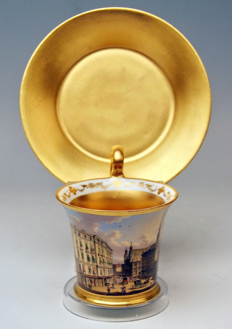 Biedermeier Vienna Imperial Porcelain Cup Saucer Painted Viennese Veduta Golden Shaded 1822 For Sale