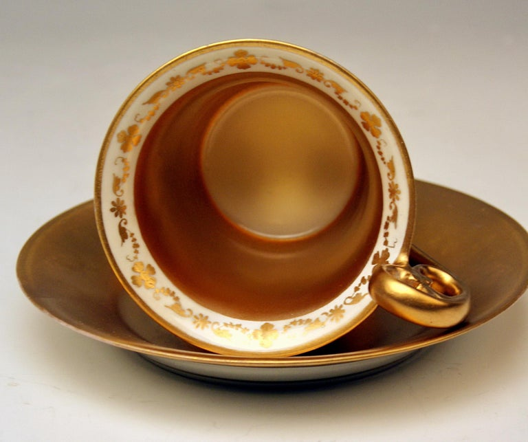 Austrian Vienna Imperial Porcelain Cup Saucer Painted Viennese Veduta Golden Shaded 1822 For Sale
