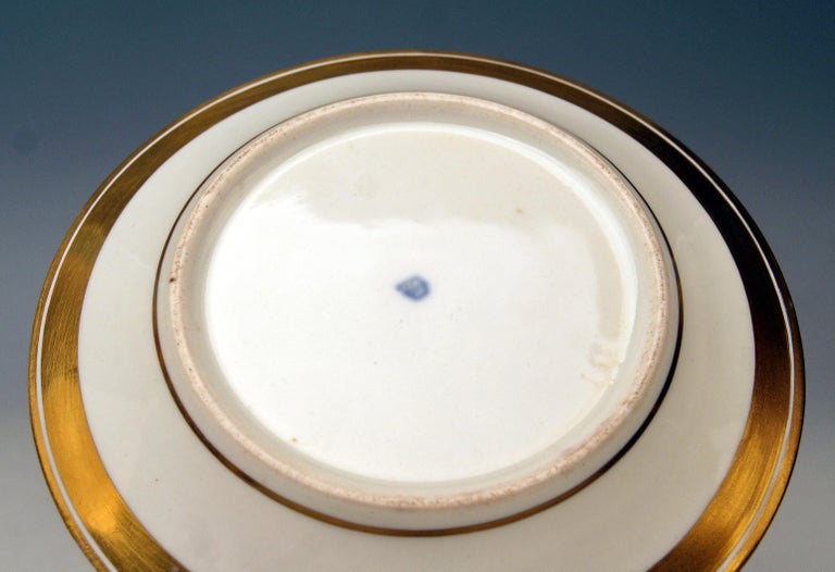 Vienna Imperial Porcelain Cup Saucer Painted Viennese Veduta Golden Shaded 1822 For Sale 2