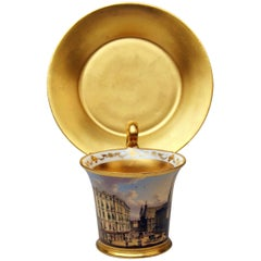 Vienna Imperial Porcelain Cup Saucer Painted Viennese Veduta Golden Shaded 1822