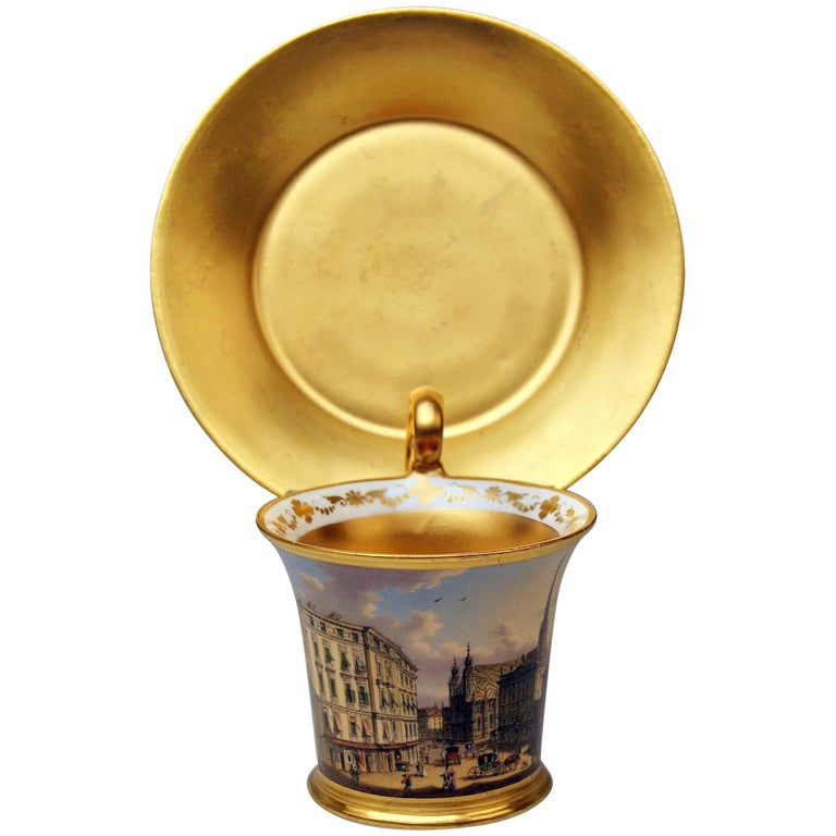 Vienna Imperial Porcelain Cup Saucer Painted Viennese Veduta Golden Shaded 1822 For Sale