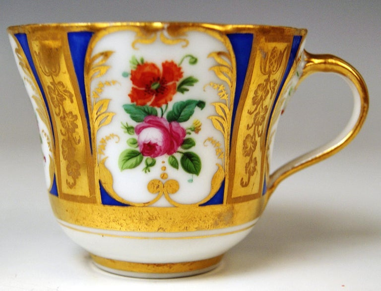 Biedermeier Vienna Imperial Porcelain Cup Saucer Painted with Flowers Golden Shaded, 1855 For Sale