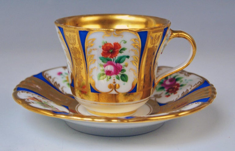 Vienna Imperial Porcelain Cup Saucer Painted with Flowers Golden Shaded, 1855 For Sale 1