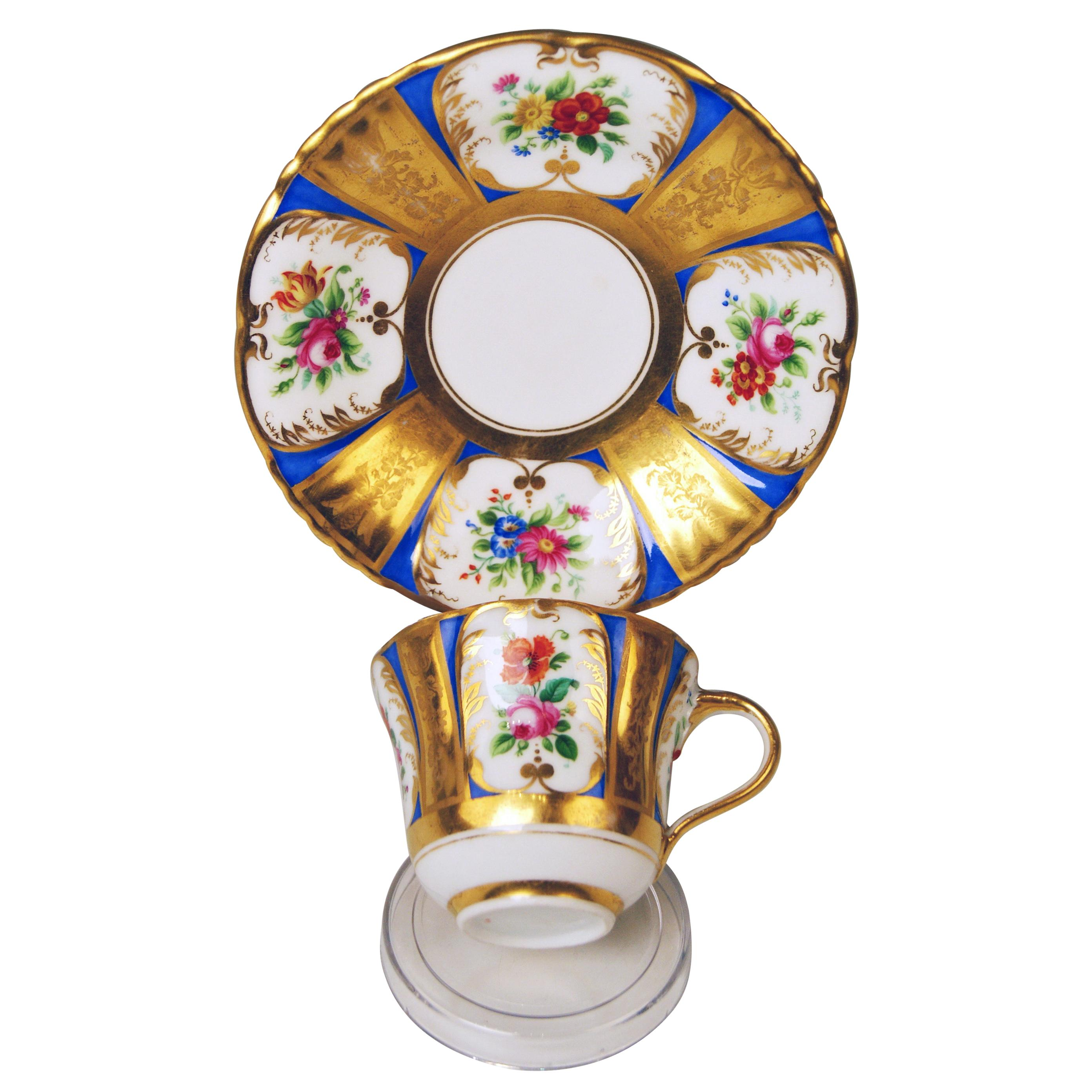 Vienna Imperial Porcelain Cup Saucer Painted with Flowers Golden Shaded, 1855