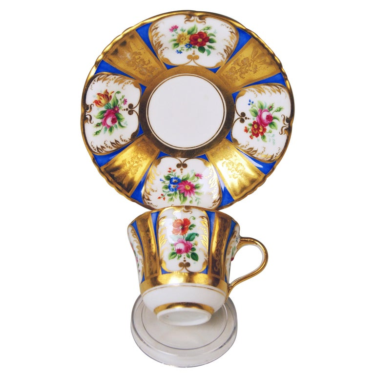 Vienna Imperial Porcelain Cup Saucer Painted with Flowers Golden Shaded, 1855 For Sale