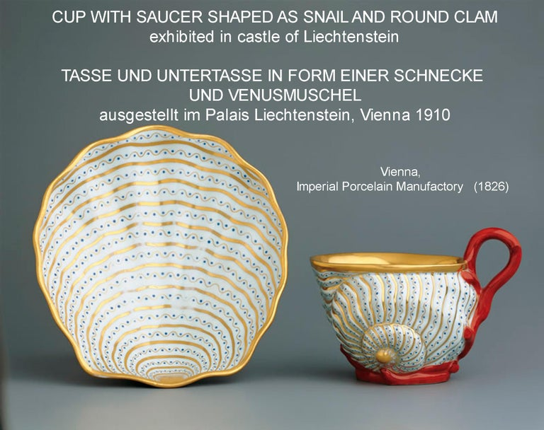 Vienna Imperial Porcelain Cup Saucer Shaped as Snail and Round Clam, 1826 For Sale 4