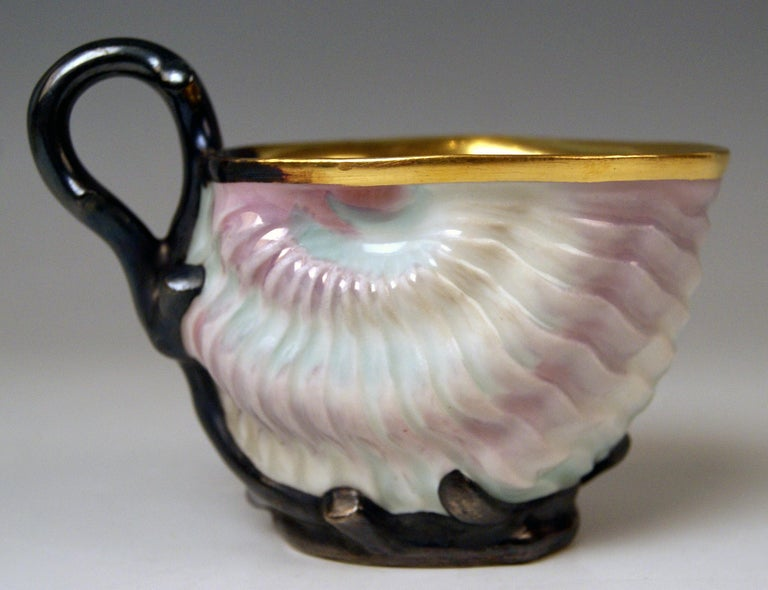 Vienna Imperial Porcelain Cup Saucer Shaped as Snail and Round Clam, 1826 For Sale 2