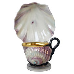 Vienna Imperial Porcelain Cup Saucer Shaped as Snail and Round Clam, 1826