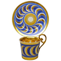 Vienna Imperial Porcelain Cup with Saucer Gold and Blue Hand Painted, 1827