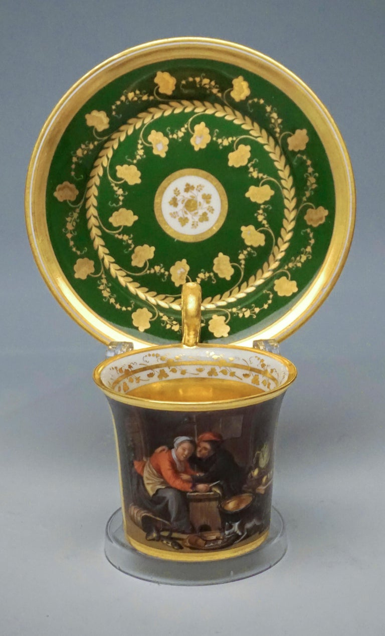 Legantly painted Imperial Viennese cup with Genre motive  Manufactory: 'Alt Wien' Old Imperial Austrian Porcelain Manufactory Vienna Date of manufacture: 1828 Technique: white handmade porcelain, painted, glossy finish, gold