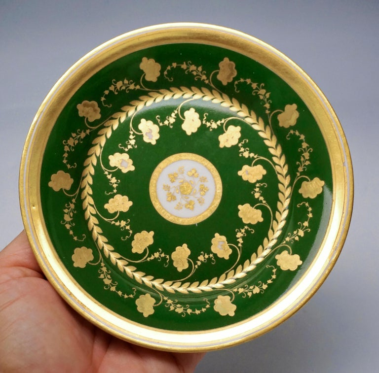 Biedermeier Vienna Imperial Porcelain Cup with Saucer Gold and Green Hand Painted 1827