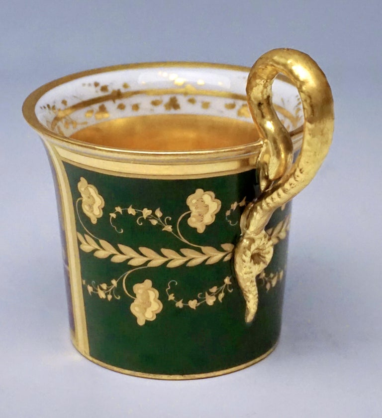 Austrian Vienna Imperial Porcelain Cup with Saucer Gold and Green Hand Painted 1827