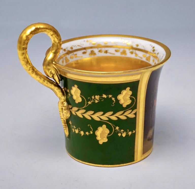 Hand-Crafted Vienna Imperial Porcelain Cup with Saucer Gold and Green Hand Painted 1827