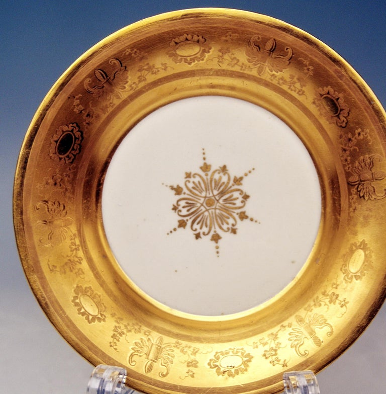 Austrian Vienna Imperial Porcelain Golden Cup Saucer Painted Veduta Vienna 1822 and 1838 For Sale