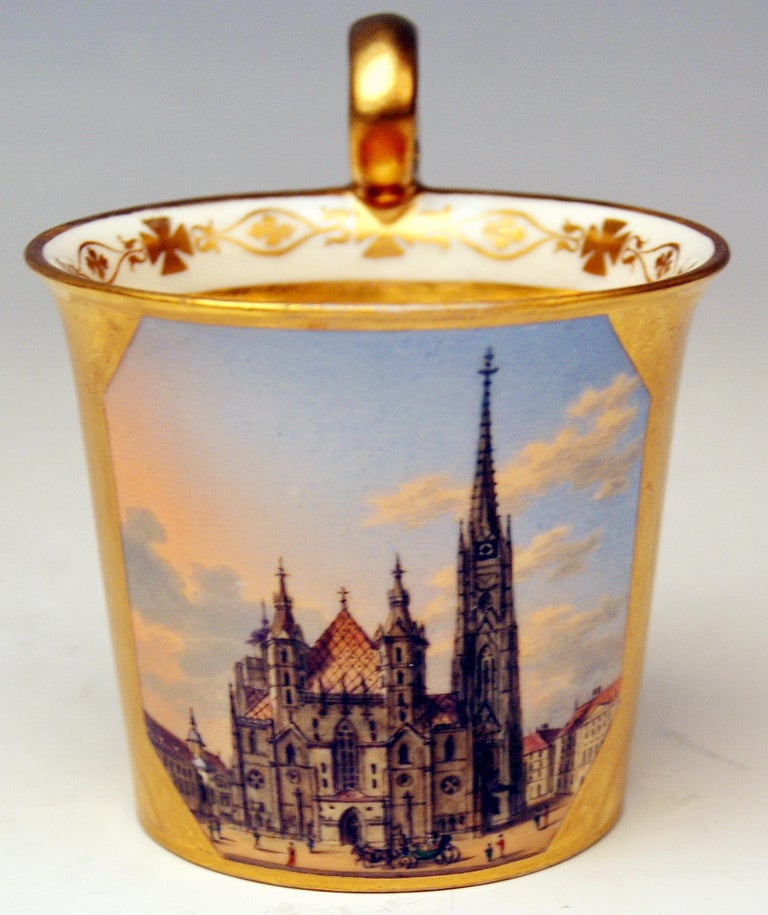 19th Century Vienna Imperial Porcelain Golden Cup Saucer Painted Veduta Vienna 1822 and 1838 For Sale