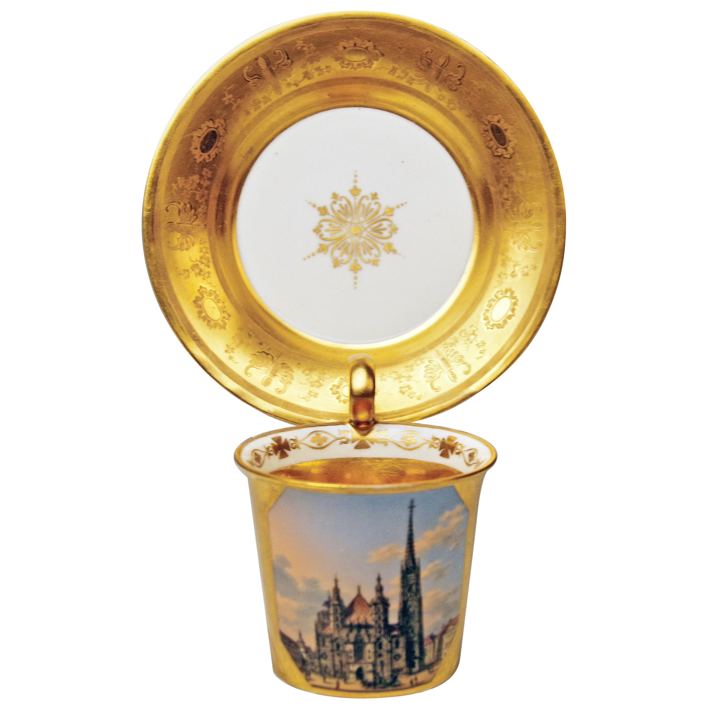 Vienna Imperial Porcelain Golden Cup Saucer Painted Veduta Vienna 1822 and 1838