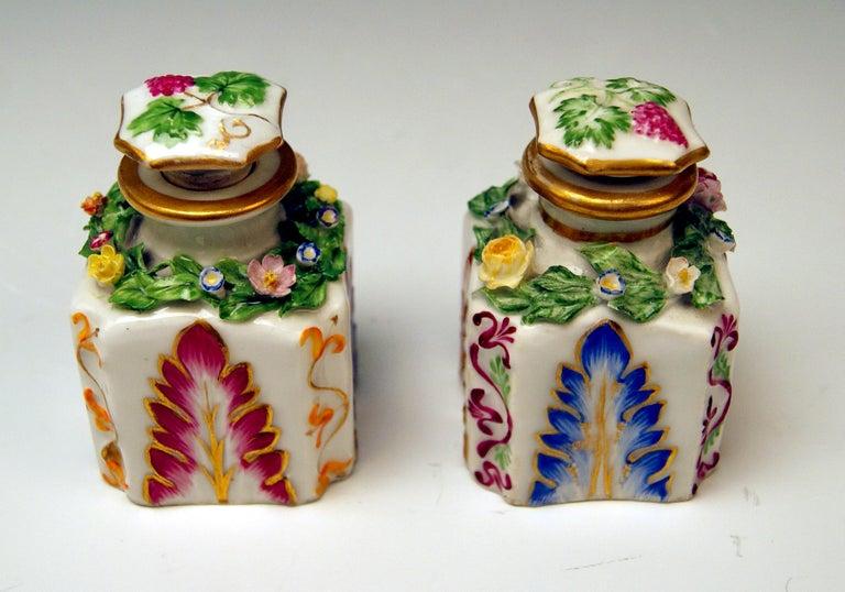 Imperial (Antique) Vienna Porcelain Pair Of Small Bottles / Flacons  Vienna/ Old Imperial Austrian Porcelain Manufactory (= ALT Wien / KAISERLICHE PORZELLAN MANUFAKTUR) / dated 1841 and 1844  Hallmarked: -- Viennese Impressed Beehive Mark --