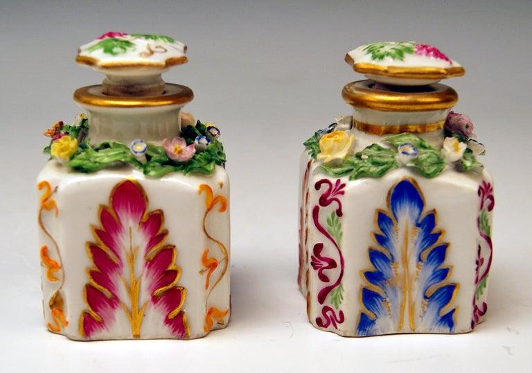 Biedermeier Vienna Imperial Porcelain Pair of Flacons Painted Austria Vienna 1841 and 1844