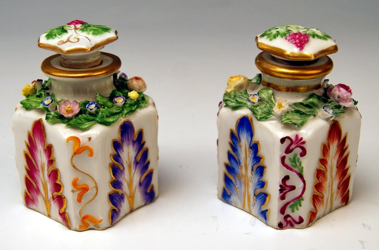Austrian Vienna Imperial Porcelain Pair of Flacons Painted Austria Vienna 1841 and 1844