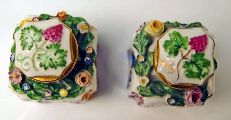 19th Century Vienna Imperial Porcelain Pair of Flacons Painted Austria Vienna 1841 and 1844