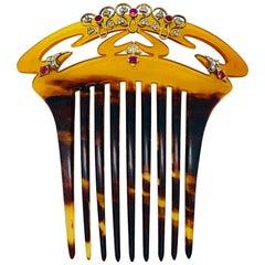 Vienna Köchert Art Nouveau Ruby Diamond Tortoise Shell Gold Silver Hair Comb