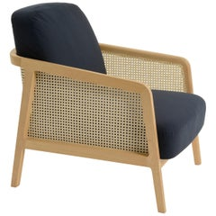 Vienna Lounge Armchair by Colé, Beechwood, Blue Cushions Contemporary Design