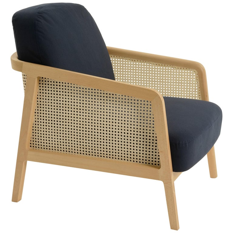 Vienna Lounge Armchair by Colé, Beechwood, Blue Cushions Contemporary Design For Sale