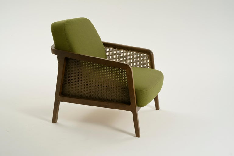Vienna Lounge Armchair by Colé, Beechwood, Green Cushions Minimalist Design For Sale 3