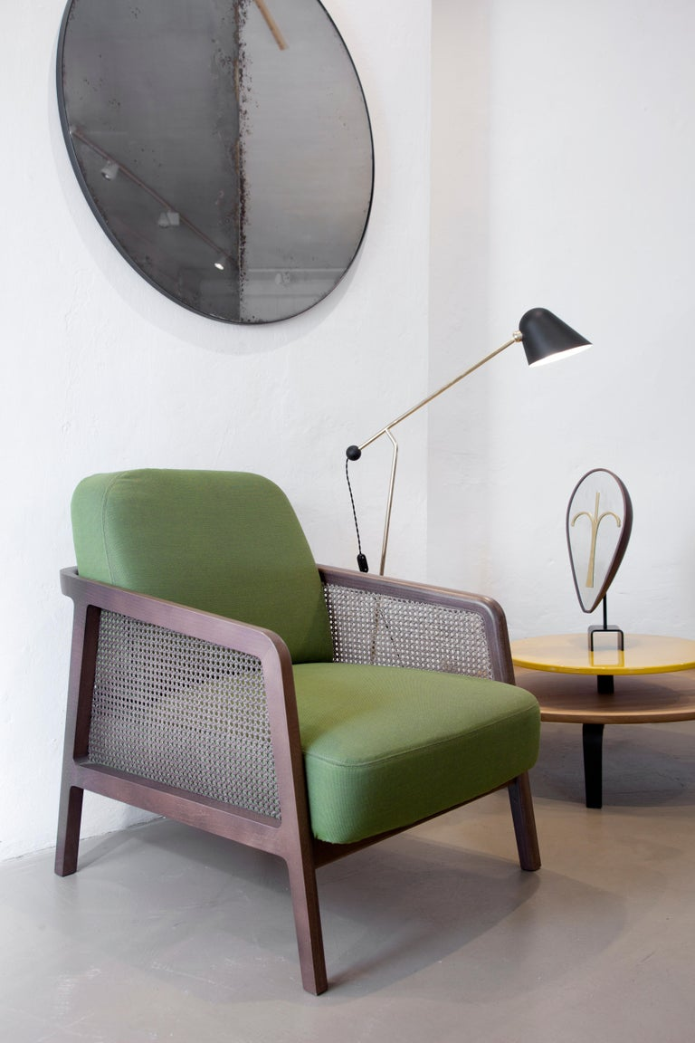 Vienna Lounge Armchair by Colé, Beechwood, Green Cushions Minimalist Design For Sale 11