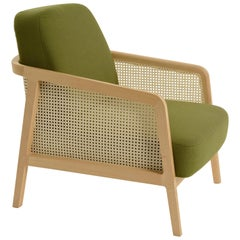 Vienna Lounge Armchair by Colé, Beechwood, Green Cushions Minimalist Design