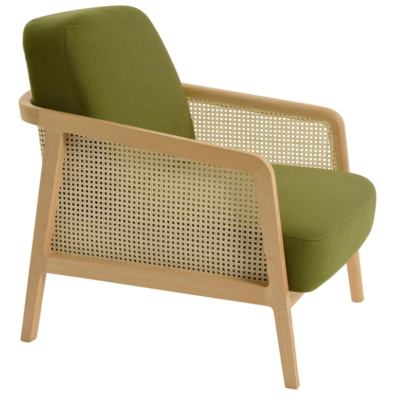 Vienna Lounge Armchair by Colé, Beechwood, Green Cushions Minimalist Design For Sale