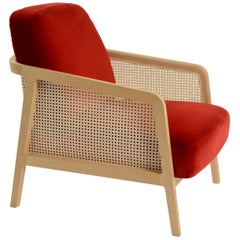 Vienna Lounge Armchair by Colé, Beechwood, Red Cushions Contemporary Design