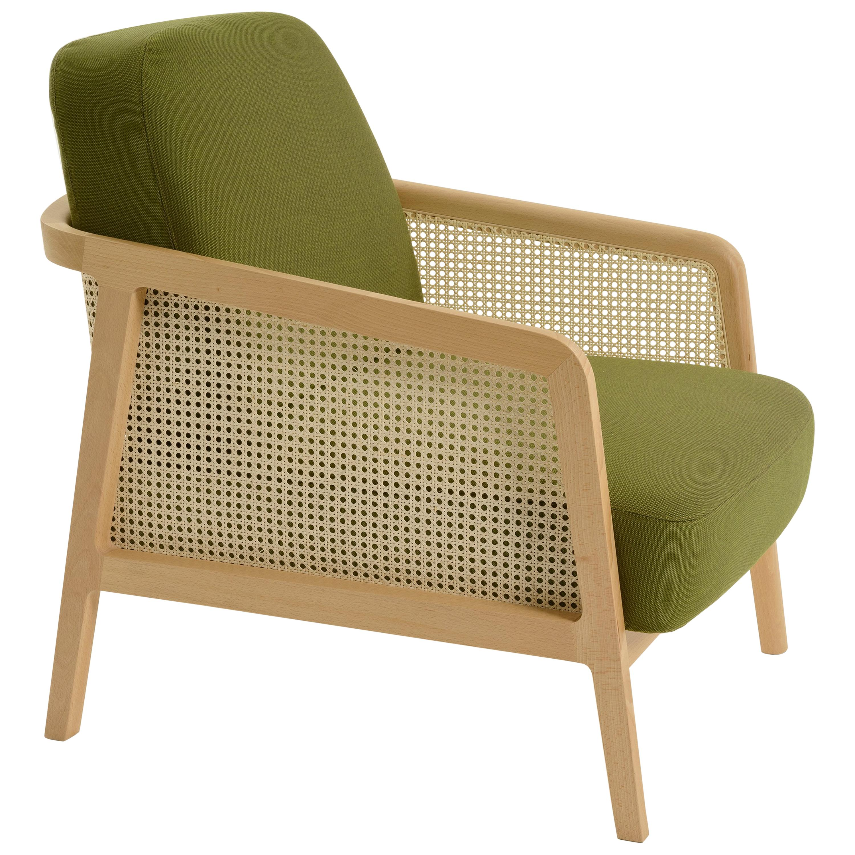 Vienna Lounge Armchair, in natural Beech and straw; Acid Green Upholstered Seat