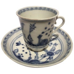 Vienna Mid-19th Century Porcelain Cup with Dish White and Blue