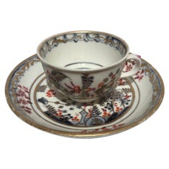 Vienna Mid-19th Century Porcelain Cup with Dish White Red Blue and Gold