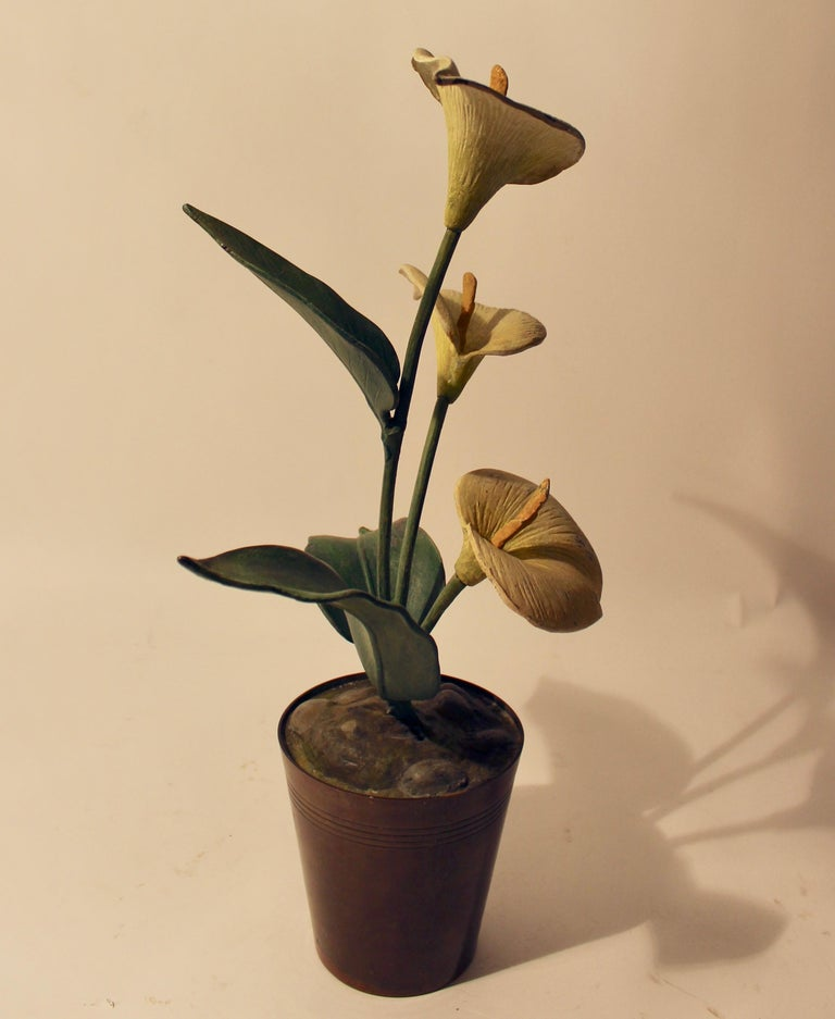 Vienna Polychrome Cold Painted Bronze Potted Arum Lilly, circa 1900 In Good Condition For Sale In London, GB
