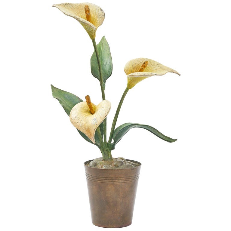 Vienna Polychrome Cold Painted Bronze Potted Arum Lilly, circa 1900 For Sale