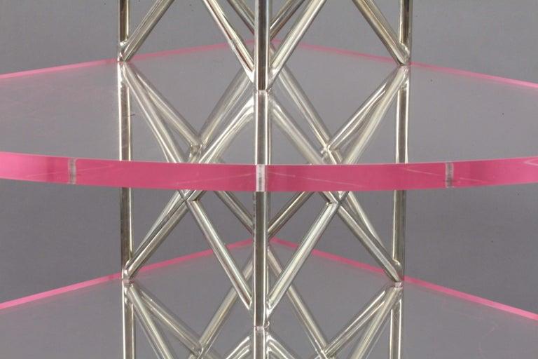 Post-Modern Vienna Postmodern Architectural chrome corner shelf Architect Michael Wieser For Sale