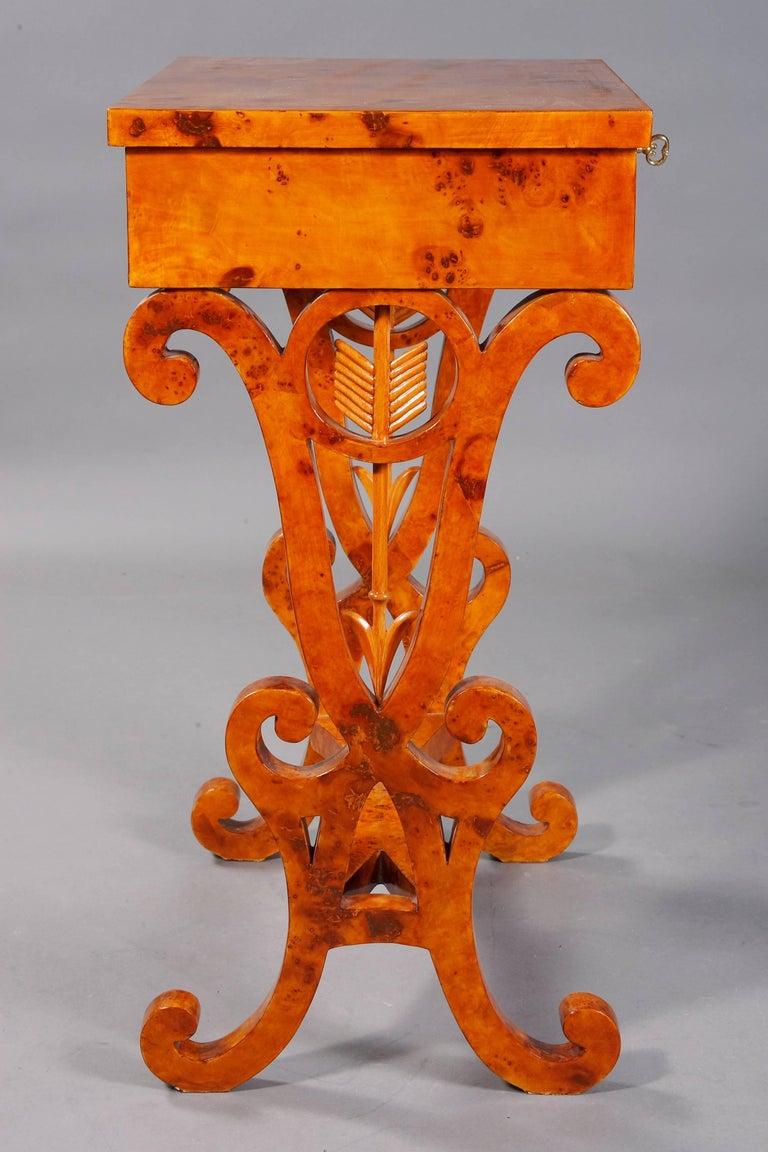 Veneer Vienna Salon Table in Biedermeier Style Maple Root  For Sale