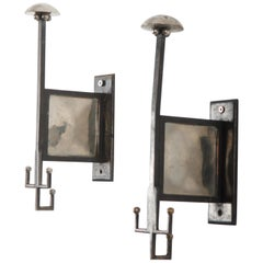 Vienna Secession Brass Wall Hooks Attributed to Josef Hoffmann