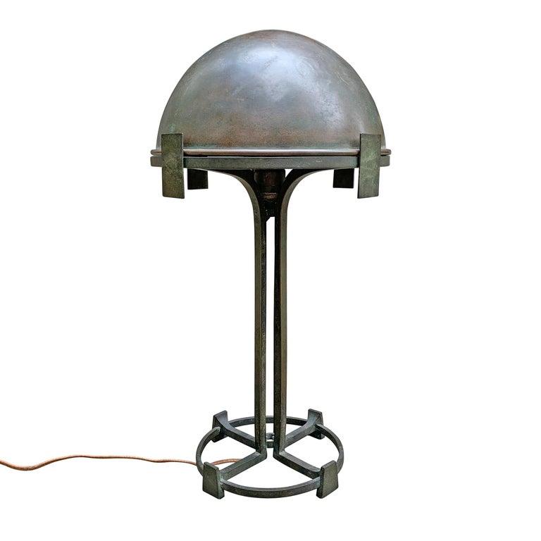 Vienna Secession Bronze Table Lamp In Good Condition For Sale In Chicago, IL