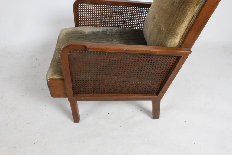 Vienna Secession Club Chair with Caned Panels For Sale 8