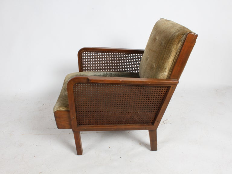Vienna Secession Club Chair with Caned Panels For Sale 9
