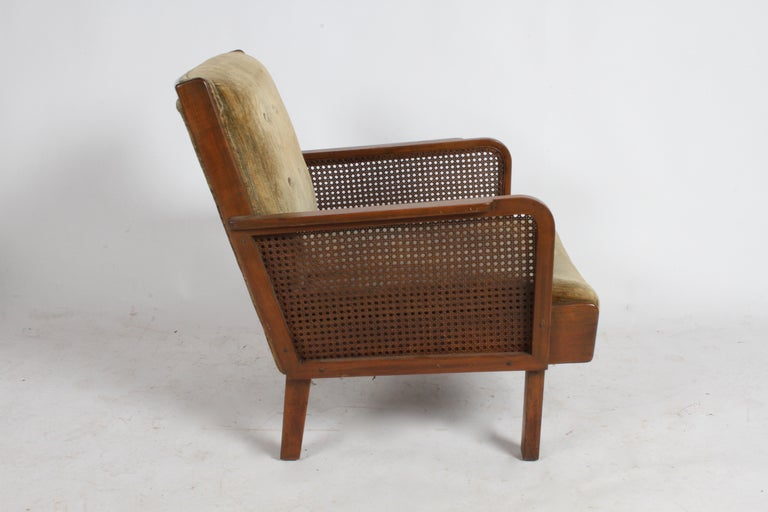 Vienna Secession Club Chair with Caned Panels For Sale 10
