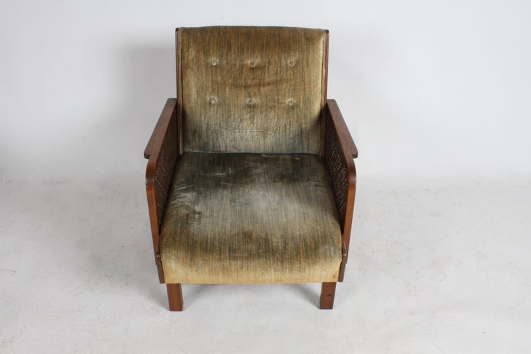 Austrian Vienna Secession Club Chair with Caned Panels For Sale